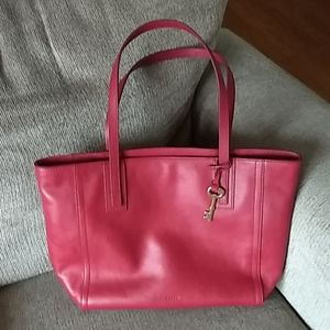 Fossil Brand Red Leather Tote